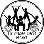 "A black and white logo encased in a circle made of two black lines where the outer line is thicker than the inner line. Inside of the circle at the bottom is the text ""The Cyborg Circus Project"". On top of the text is an image of 5 black and white figures, in a pyramid formation. There are two manual wheelchair users on the right and left of the pyramid base. In the middle of them is a standing person with a neurodiversity symbol on their chest. This figure is heavier. At the top of the pyramid on the left is a figure holding a curved cane above their head. On the right is a figure with a right below the knee prosthetic leg. All of the figures are supporting each other to hold the pyramid shape."