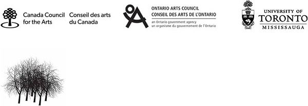 Logos: Canada Council for the Arts, Ontario Arts Council, University of Toronto Mississauga, and Blackwood Gallery