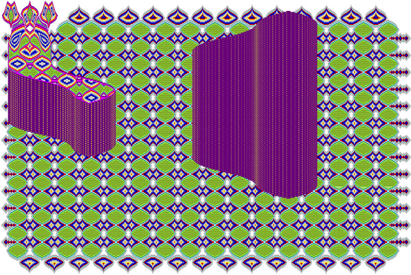 An abstract digital image of two ambiguous different-sized objects against a patterned background in green and purple tones. The smaller object is L-shaped with curved edges, located in the upper left corner of the image, and has three antenna-like extensions. The bigger object is located in the upper-right part of the image, is trapezoid-shaped with curved edges, and purple with dotted vertical lines. The background consists of a set of diamond and oval shapes in different sizes arranged in repeating pattern.