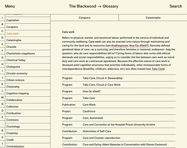 "A webpage showing the glossary entry for ""care work."" On an off-white background, a narrow left pane shows an arrangement of alphabetical terms, while a right pane includes the glossary term, a paragraph definition, and a list of related items."