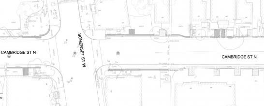 (EN) Site plan Somerset St W. and Cambridge St / (FR) Emplacements des œuvres d'art public au coin de la rue Somerset Ouest et Rue Cambridge