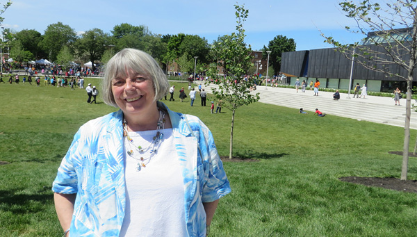 Portrait of Pam McConnell standing outside during the reopening celebrations of the revitalized Regent Park. Photo courtesy of the McConnell Family.