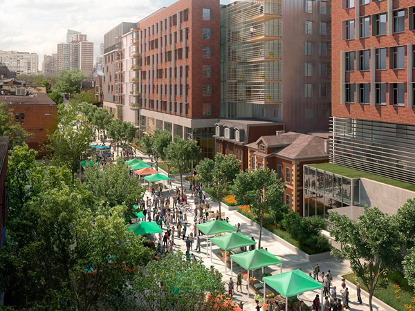 Rendering of the exterior and public realm of George Street Revitalization Project. Courtesy of Montgomery Sisam.